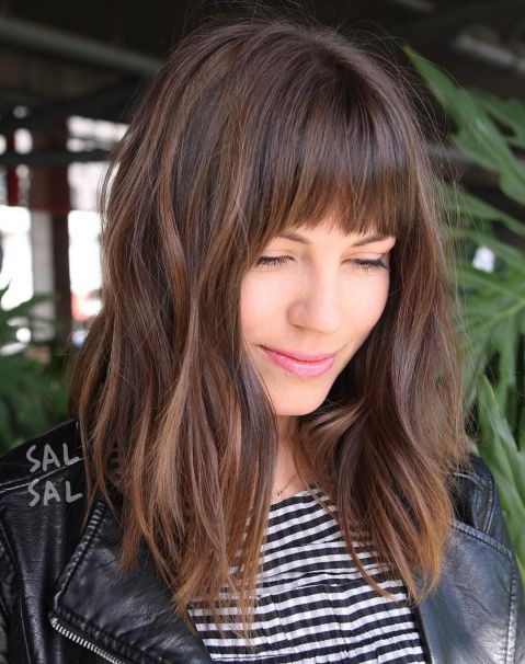 brown Style with Bangs and Caramel Highlights 1