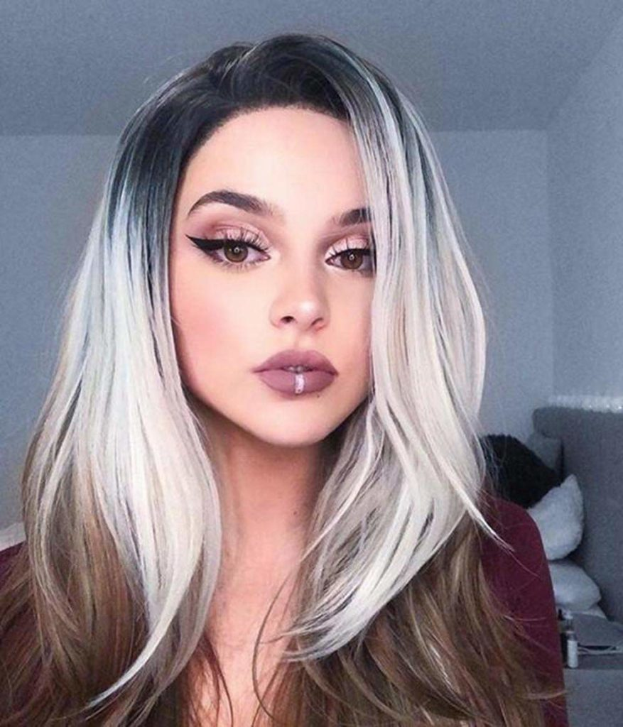 hairstyles long colors Grey with blonde