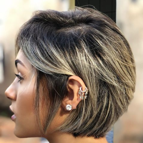 long Pixie with Golden Blonde Balayage 1