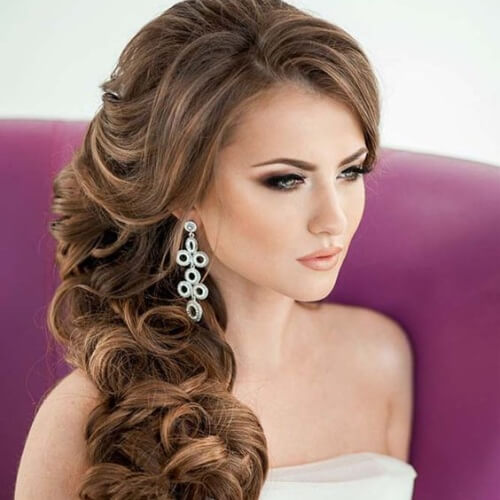 side Swept Long Curly Hairstyles