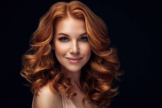 Cognac hair color with blue eyes