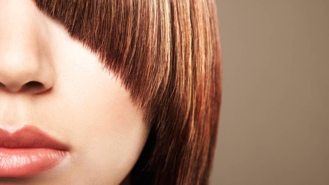 medium hair and oblique bangs